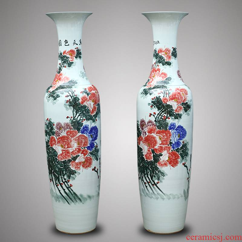 Jingdezhen ceramic hand - made amusement of large vase Chinese style hotel club villa, the opened a housewarming gift
