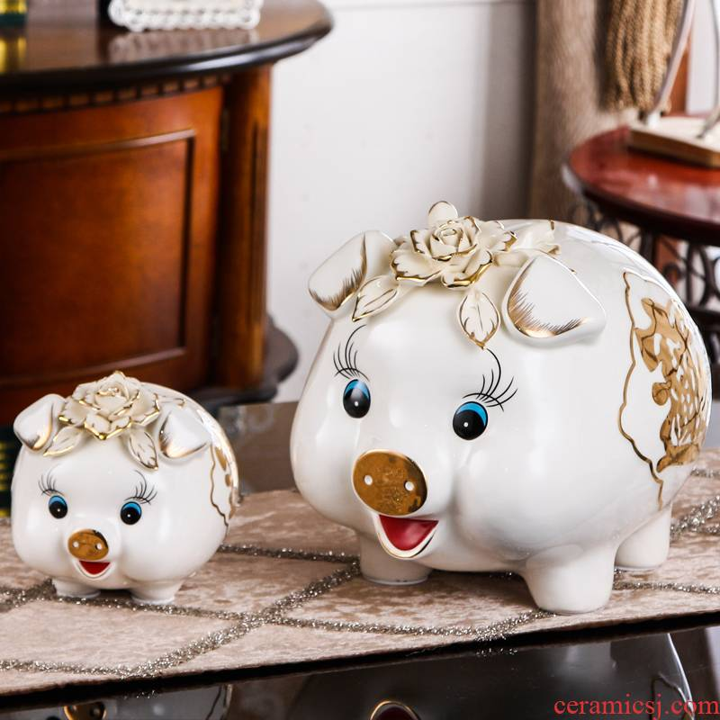 SAN road fort European ceramic pig can money of a pair of children bedroom furnishing articles piggy Banks sitting room adornment creative gifts