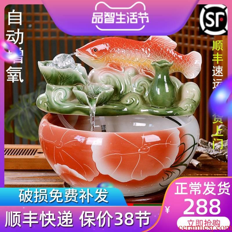 Jingdezhen ceramic goldfish bowl sitting room desktop small aquariums brocade carp office feng shui plutus furnishing articles