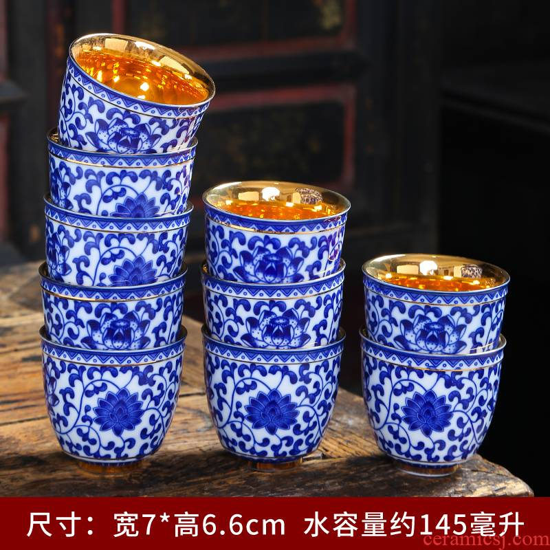 Kung fu tea cups jingdezhen ceramic masters cup hand - made sample tea cup all hand under the blue and white porcelain glaze color