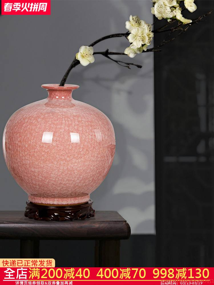 Jingdezhen pomegranate pink bottle ceramics vases, flower arranging new Chinese style living room home TV ark adornment furnishing articles
