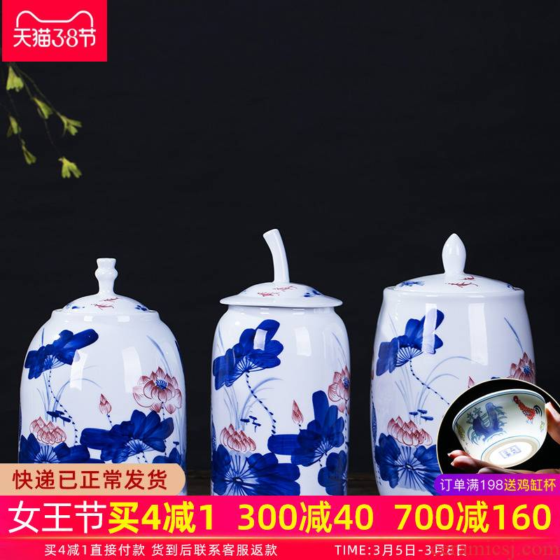 Hong xuan jingdezhen ceramic tea pot lotus storage tank is I and contracted household adornment handicraft furnishing articles in the living room