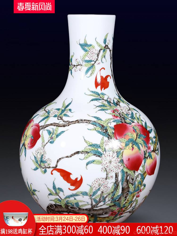 Jingdezhen ceramics imitation qianlong live figure vase large household of Chinese style of the sitting room porch place ornament
