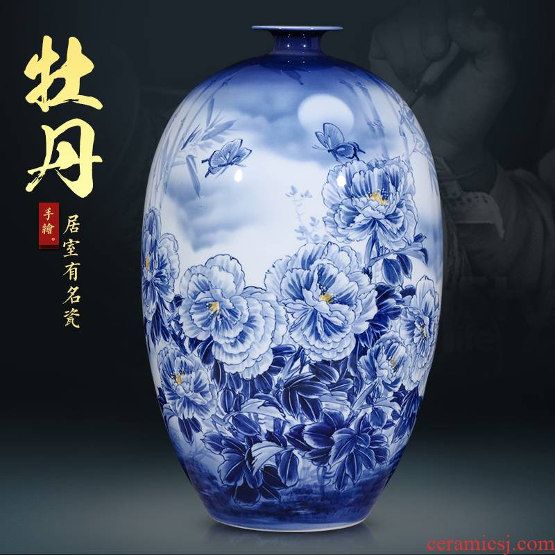 Jingdezhen ceramics hand - made archaize Angle of furnishing articles of Chinese style living room what large blue and white porcelain vase office decoration