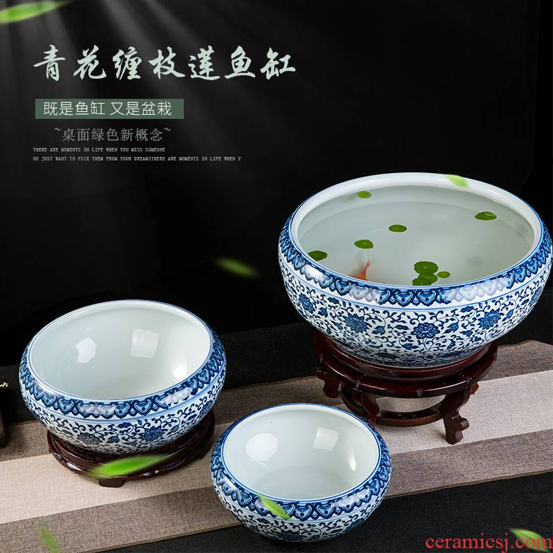 Jingdezhen ceramics porcelain bottle daikin tank cylinder tortoise refers to basin of household water lily lotus garden furnishing articles
