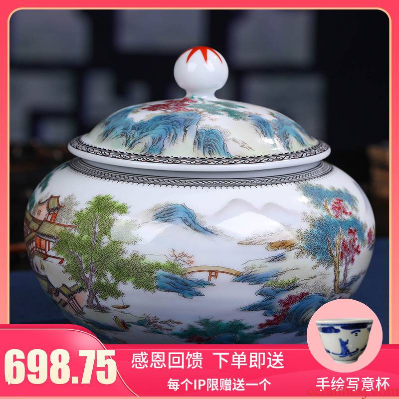 Jingdezhen ceramics vase modern archaize famille rose tea pot household act the role ofing is tasted handicraft furnishing articles in the living room