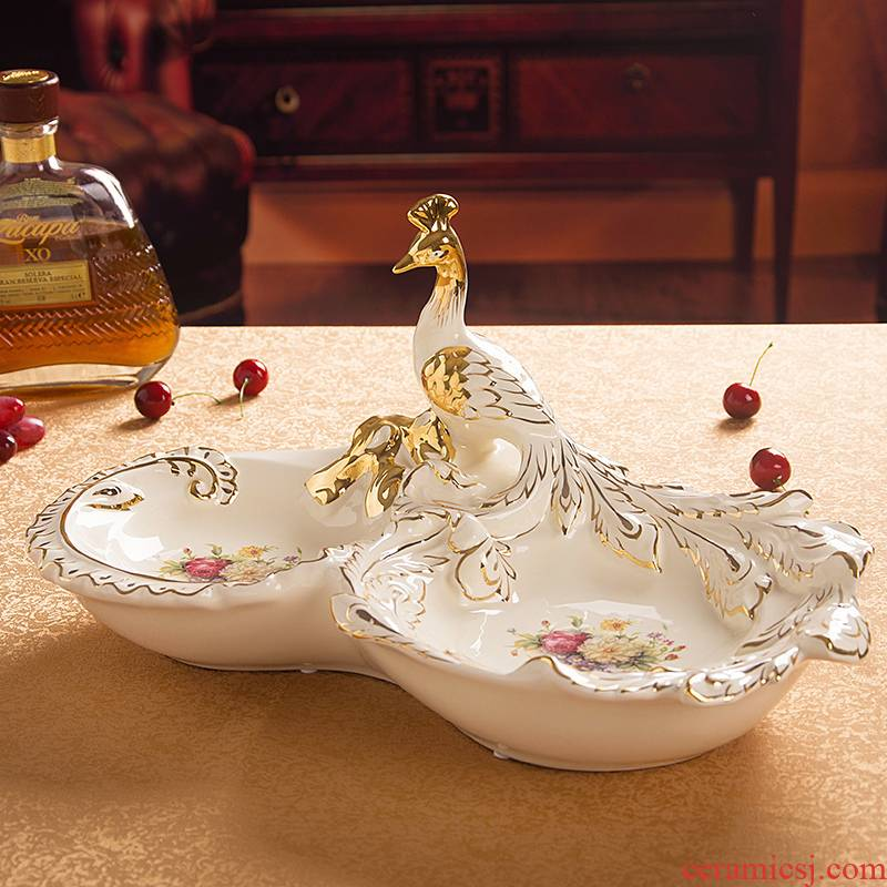 Davao European - style compote ceramic creative fruit bowl sitting room key-2 luxury home decoration peacock furnishing articles