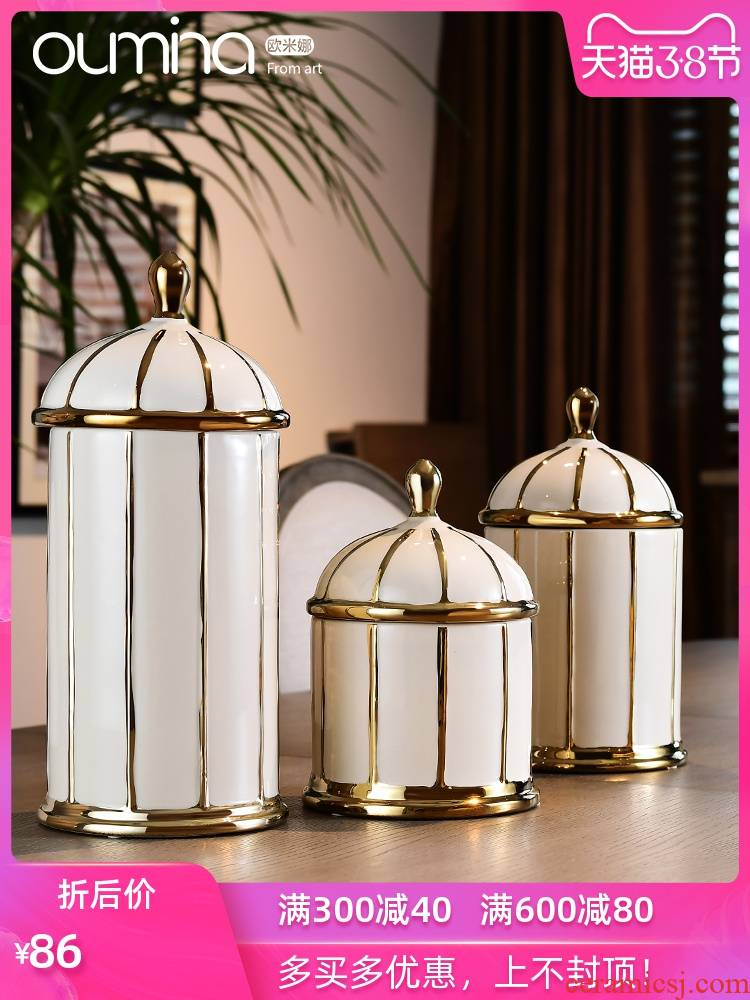 The mina wine decorative ceramic small place storage tank sitting room of I and contracted household decoration accessories