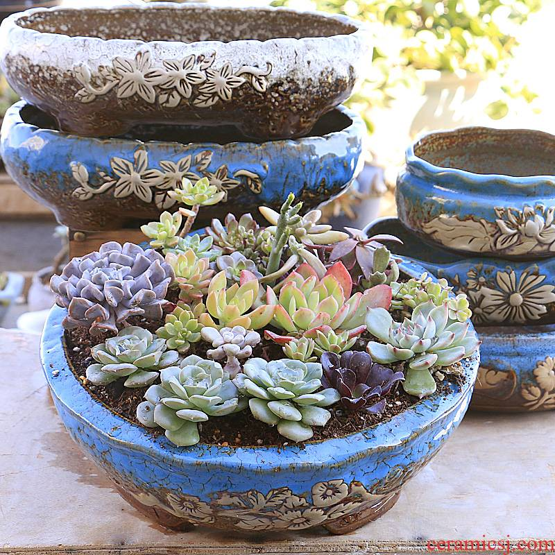 Fleshy flowerpot ceramic up large - diameter household oversized clearance coarse pottery creative meat meat plant spell on sale