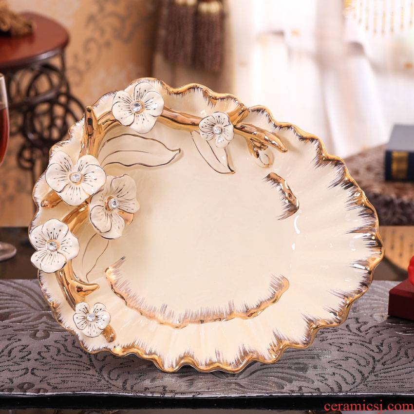 SAN road fort European creative ceramic bowl sitting room adornment compote furnishing articles of modern household act the role ofing is tasted housewarming gift