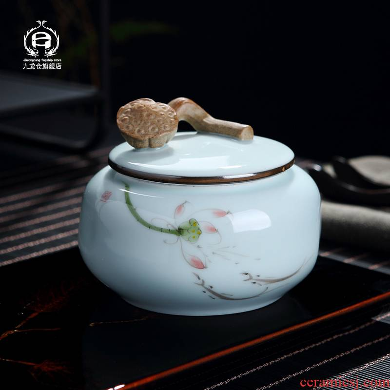 DH general green tea jingdezhen ceramic tea caddy fixings seal pot of tea cake celadon store receives the tea pot