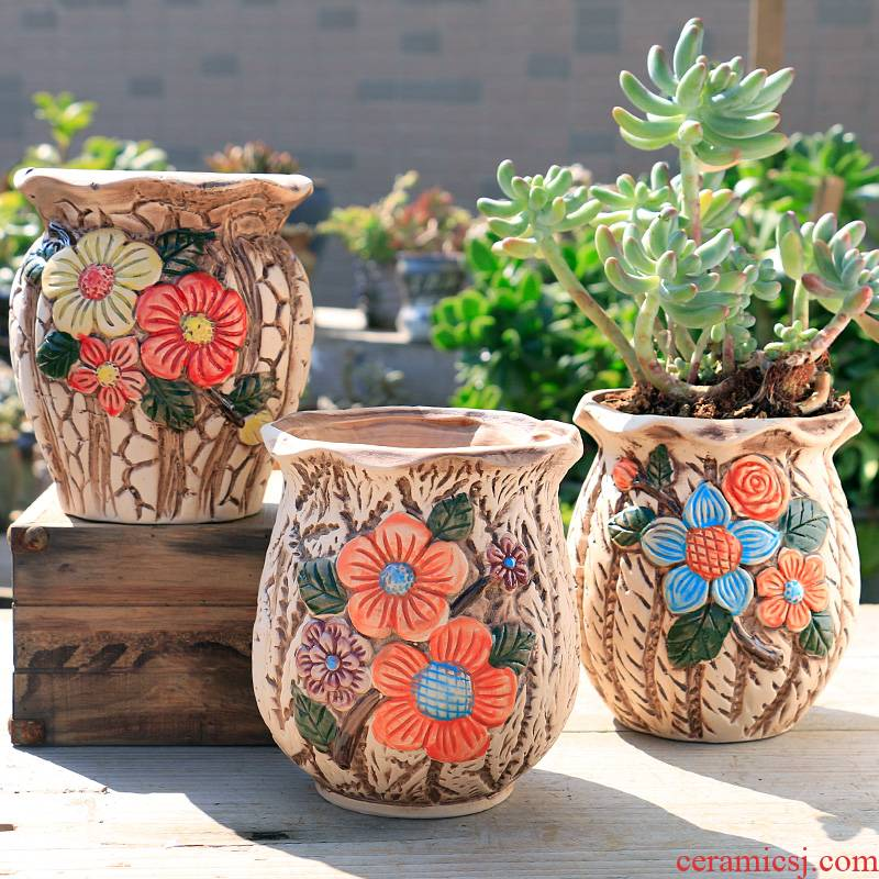 The Fleshy flower pot large old running the special offer a clearance of creative move of large diameter coarse pottery breathable ceramic flesh POTS of the plants