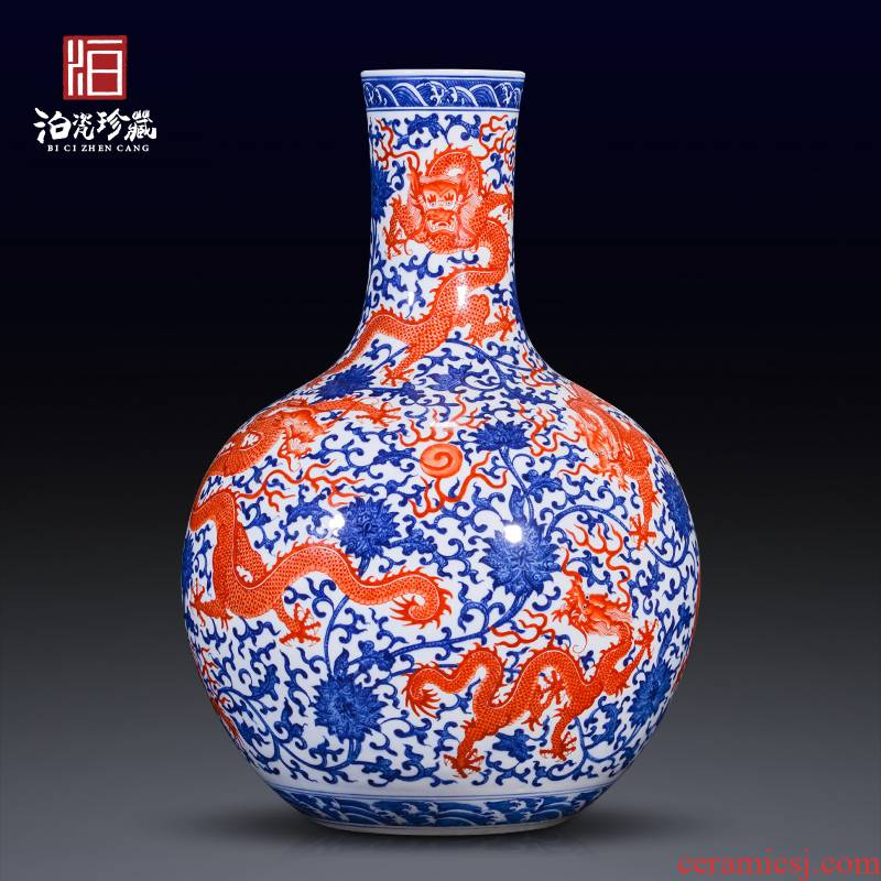 Jingdezhen blue and white color bucket alum red ceramics, Kowloon celestial big vase collection of Chinese style household decorative furnishing articles