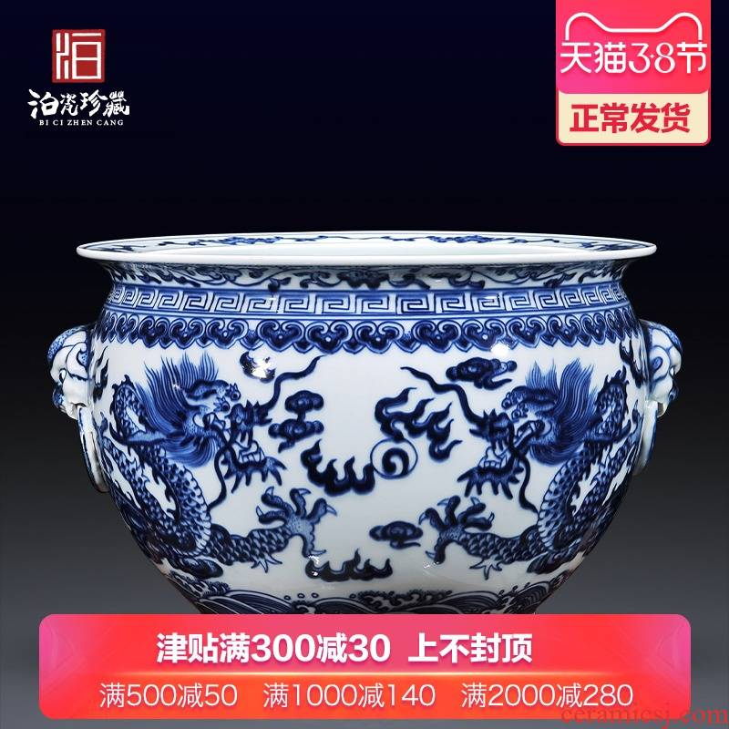 Jingdezhen ceramics antique blue - and - white cornucopia ears dragon cylinder writing brush washer from new Chinese style flower pot sitting room aquarium furnishing articles