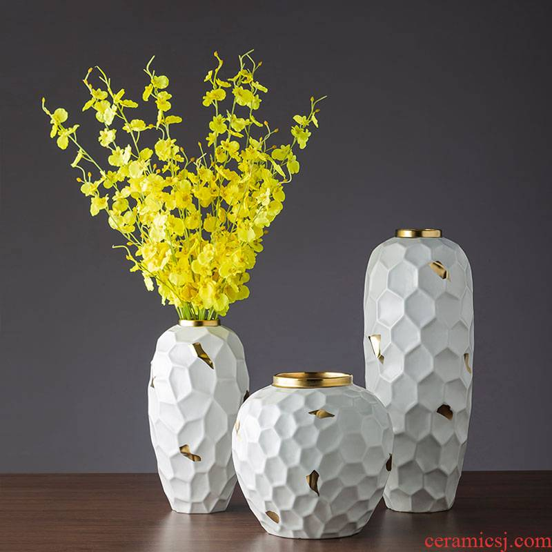 Ceramic household contracted and I white flowers sitting room adornment flowers flower implement Ceramic furnishing articles example room