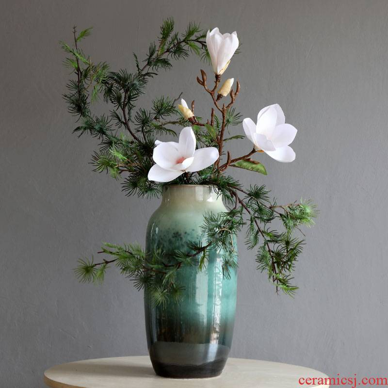 Jingdezhen ceramic up vases, pottery furnishing articles example room living room TV cabinet decoration of new Chinese style floral suit