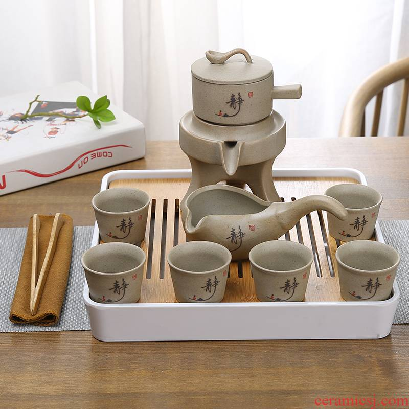 Lazy tea is semi automatic kung fu tea set rotating water ceramic purple sand cup restoring ancient ways the whole household