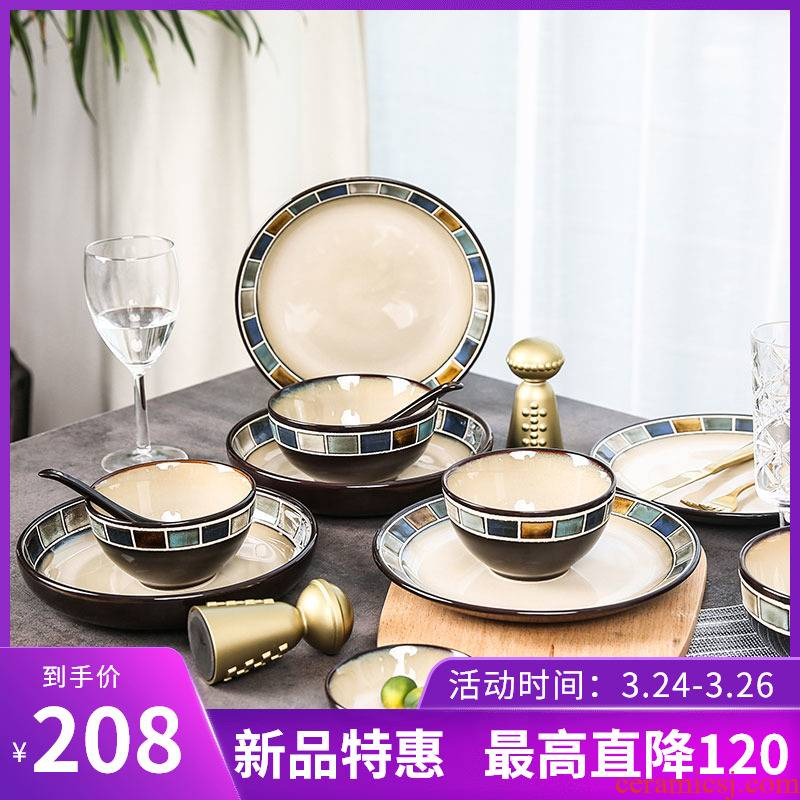 American dishes suit yuquan square ceramic tableware dishes 20 in the first four people in the Nordic gifts ins of the wind