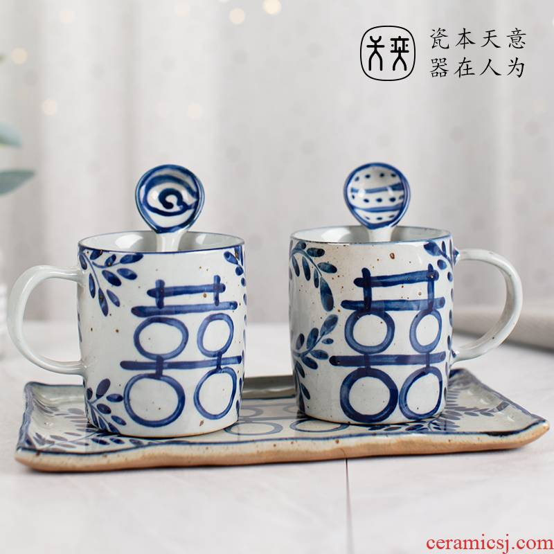 The Joy of the ceramic cup a suit wedding wedding cup high - grade traditional custom retro glass lovers gift