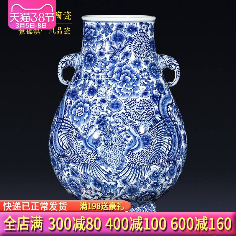 Jingdezhen ceramics imitation qianlong hand - made double phoenix antique Chinese blue and white porcelain vase sitting room adornment is placed