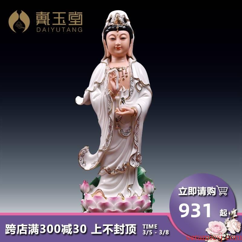 Yutang dai ceramic guanyin Buddha to occupy the home paint color lotus standing like avalokitesvara like furnishing articles