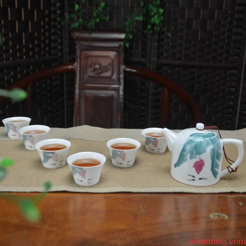 Tea sets a complete set of ceramic kung fu Tea set under the glaze color hand - made teapot six cups work home Tea gifts