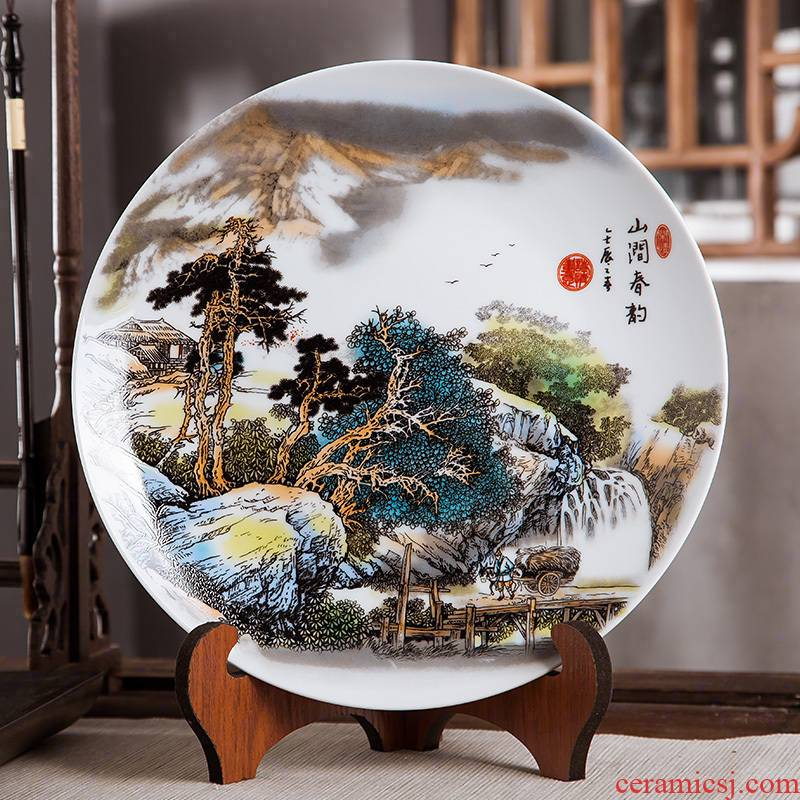 Jingdezhen ceramics furnishing articles household decorations hanging dish sitting room ark, landscape decoration plate of Chinese arts and crafts