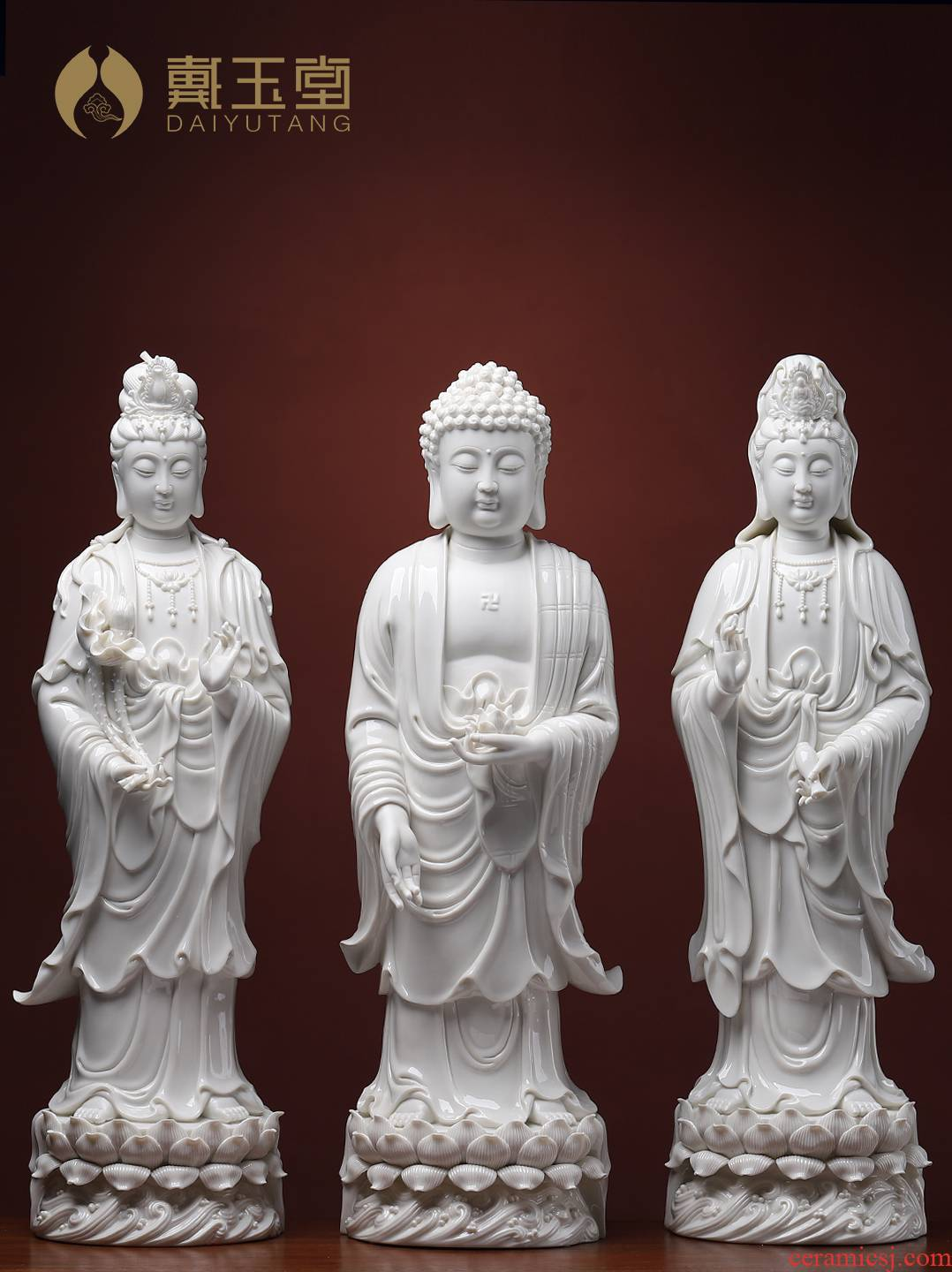 Yutang dai ceramic amida Buddha guanyin trend to three holy spirit of Buddha enshrined 22 inches jade white western as furnishing articles