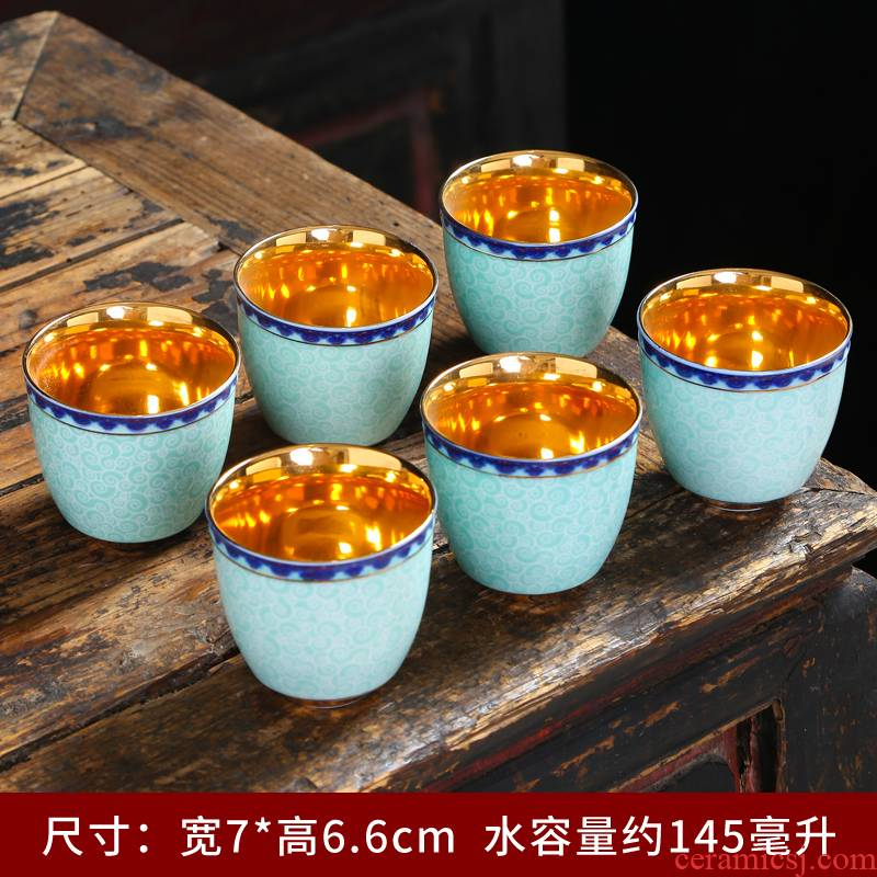 Tasted silver gilding craft kungfu cup silver cup 99 blue and white porcelain sample tea cup paint household use master cup personal cup