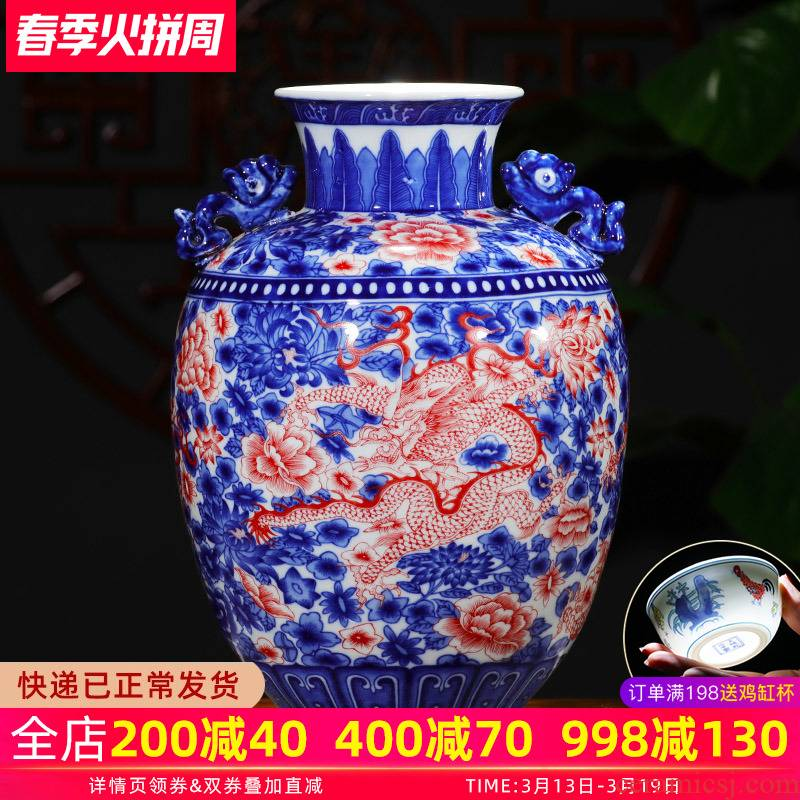 Jingdezhen ceramics youligong dragon pattern of blue and white porcelain vase flower arranging new Chinese style household furnishing articles sitting room adornment
