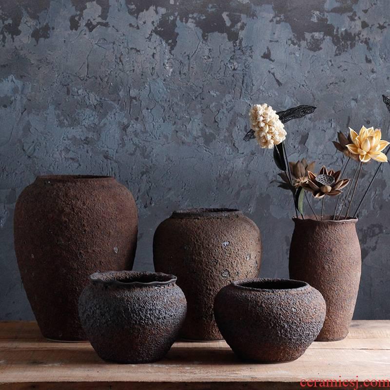 Checking out ceramic coarse TaoHua machine dry flower arranging flowers furnishing articles zen tea room vases, ceramic flower pot clay POTS