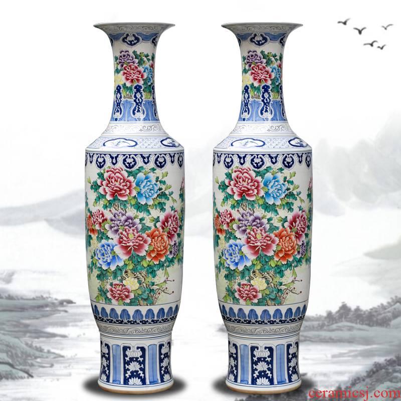 New classical jingdezhen ceramic vase drop device of large sitting room large peony flowers prosperous hotel gift furnishing articles