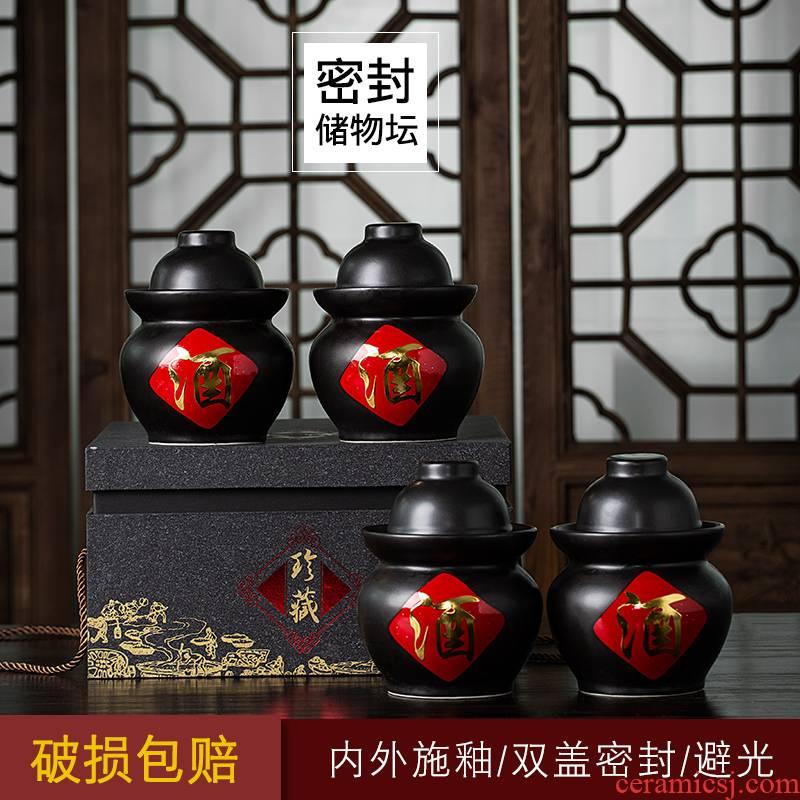 Ceramic sichuan pickle jar household small tea altar altar wine vinegar jar sealed as cans earthenware pickle jar