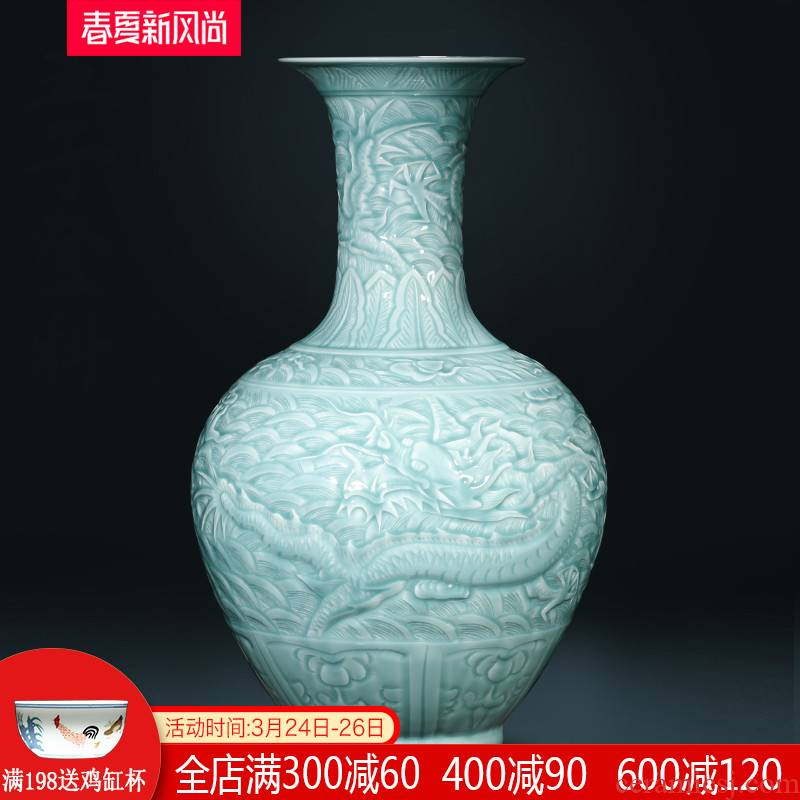Jingdezhen ceramics pure manual shadow blue glaze carving dragon large vases, flower arranging new Chinese style living room furnishing articles