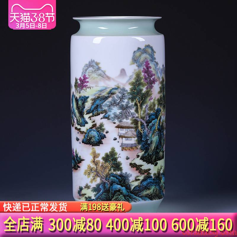 Jingdezhen ceramics green glaze landscape painting and calligraphy tube quiver scroll sitting room place, the study of large cylinder vase
