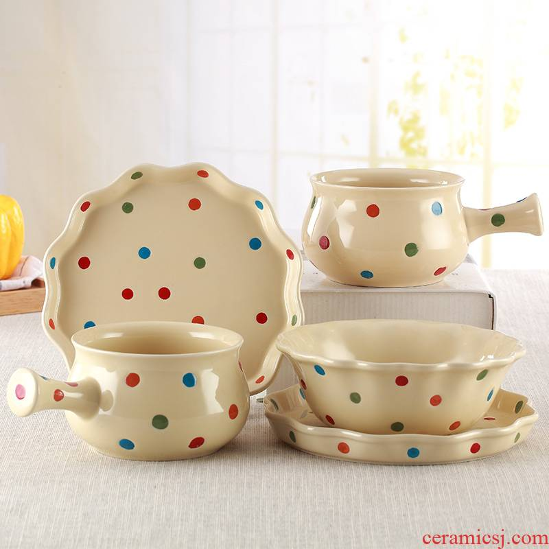 Web celebrity ins breakfast dishes set tableware a people eat cereal bowl with the handle dishes suit ceramic salad bowl