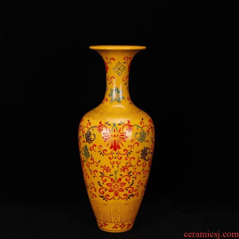 Jingdezhen imitation enamel color beauty of clear acting palace shoulder vases, flower implement antique reproduction antique vintage home furnishing articles