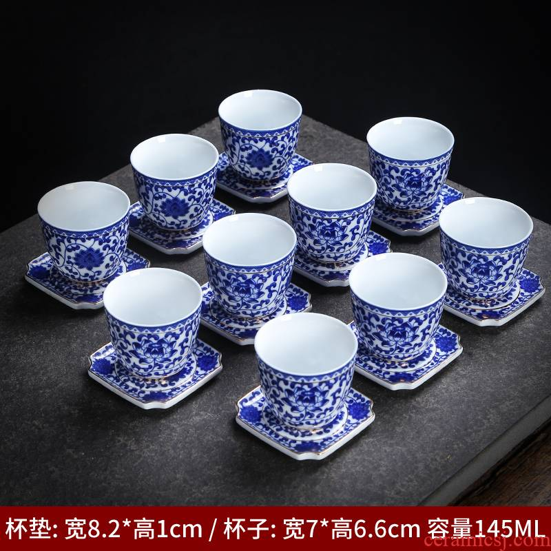 Jingdezhen ceramic kung fu tea cups antique jade porcelain sample tea cup of blue and white porcelain cup single cup size