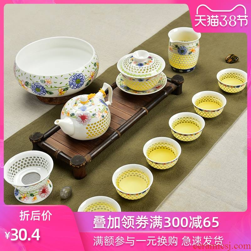 Palettes nameplates, exquisite tea sets suit honeycomb hollow out of the blue and white porcelain ceramic kung fu tea ice crystals honeycomb teapot teacup