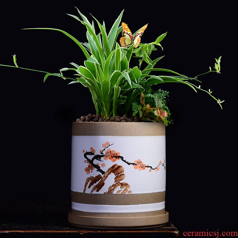 Money plant POTS ceramic large clearance of household bracketplant potted meat meat rich tree orchid the plants, fleshy basin coarse pottery