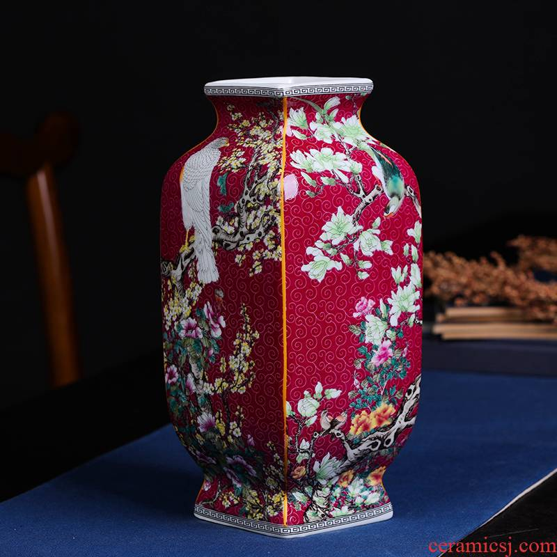 Jingdezhen ceramic vase furnishing articles archaize qingming classical arrangements square vase collection of Chinese style household ornaments