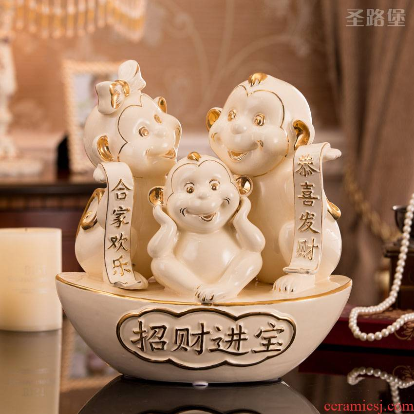 The New fort SAN road ceramic creative monkey monkey furnishing articles decorations mascot home furnishing articles gift sitting room
