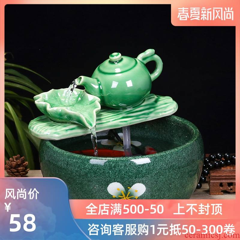 Jingdezhen ceramic fish small sitting room aquarium water fountain creative household humidifier water tank