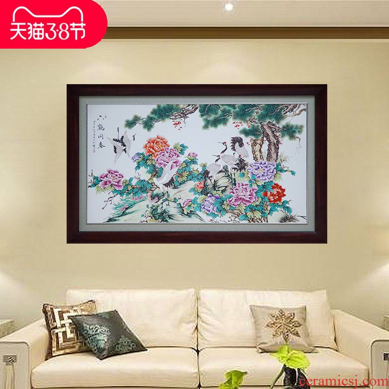 Jingdezhen ceramic decorative porcelain plate painting walls central scroll painting masters hand painting blooming flowers