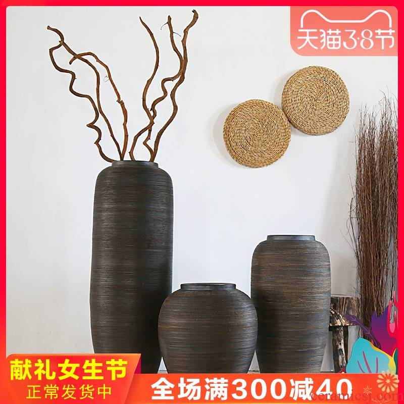 Retro rough some ceramic pot flower arrangement sitting room adornment is earthenware do old archaize large flower pot ground vases, flower receptacle
