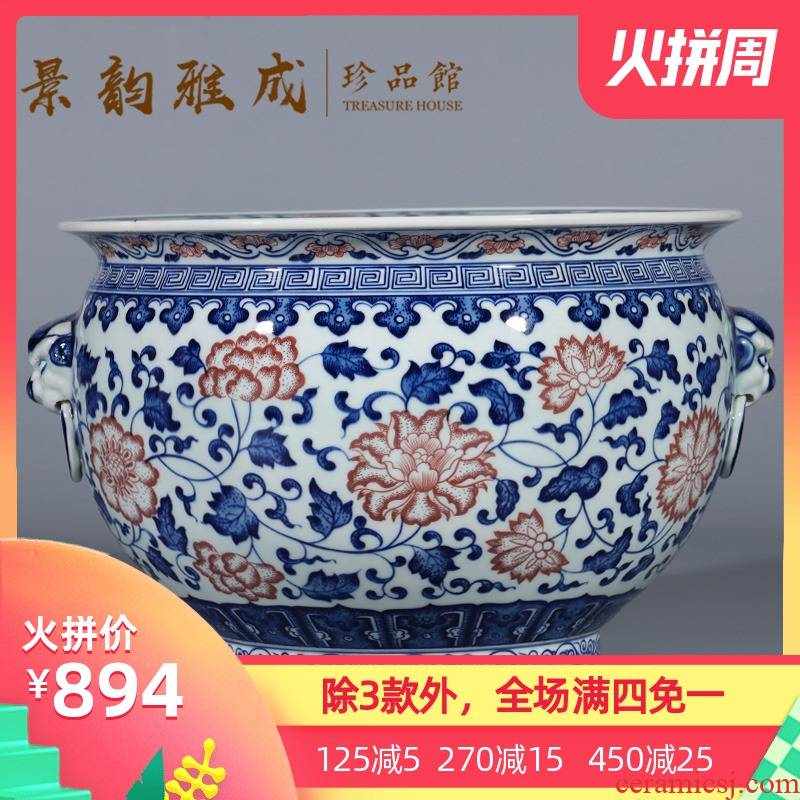 Jingdezhen ceramic cornucopia ears aquarium new Chinese style household adornment of blue and white porcelain vase furnishing articles to restore ancient ways