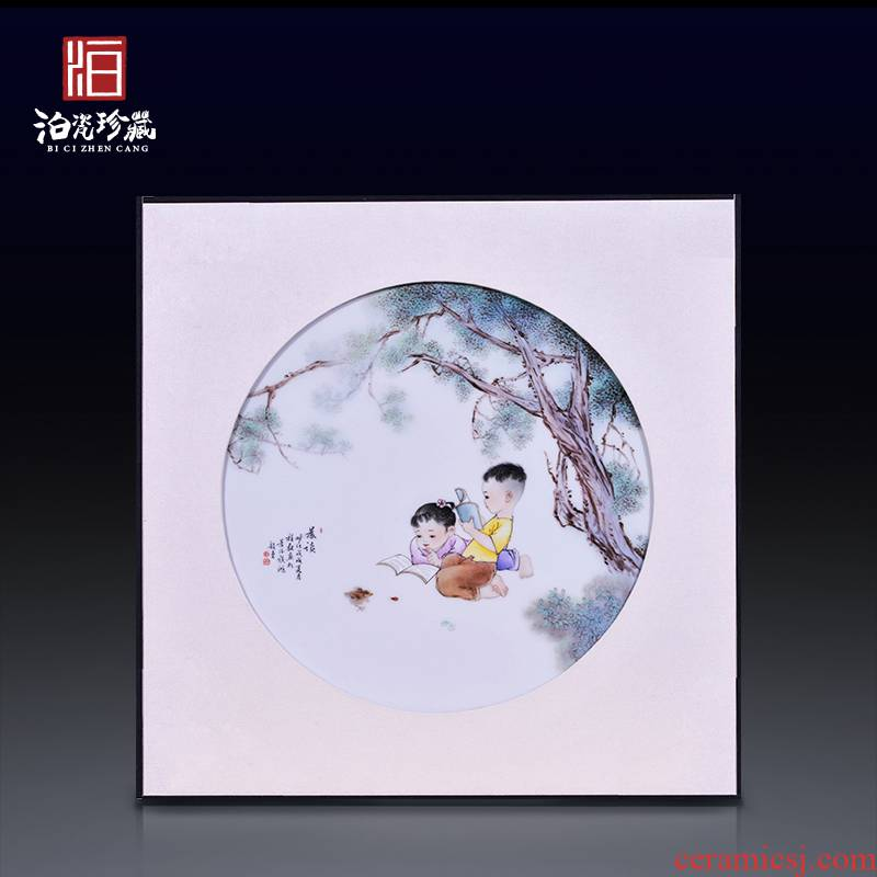 Jingdezhen ceramics hand - made morning reading porcelain plate painter of new Chinese style sitting room adornment bedroom wall hanging in furnishing articles