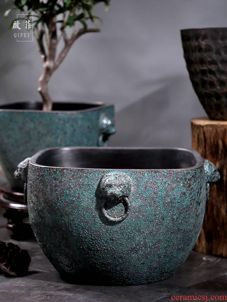 Jingdezhen earthenware coarse pottery ancient ceramic VAT aquarium fish turtle water lily cylinder engraving tank a goldfish bowl