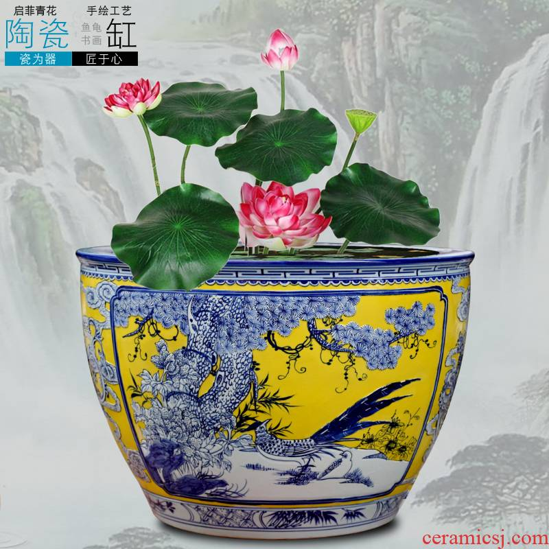Jingdezhen carved flowers and birds ceramic aquarium goldfish turtle slept bowl LianHe flowerpot cylinder big flowerpot backyard furnishing articles