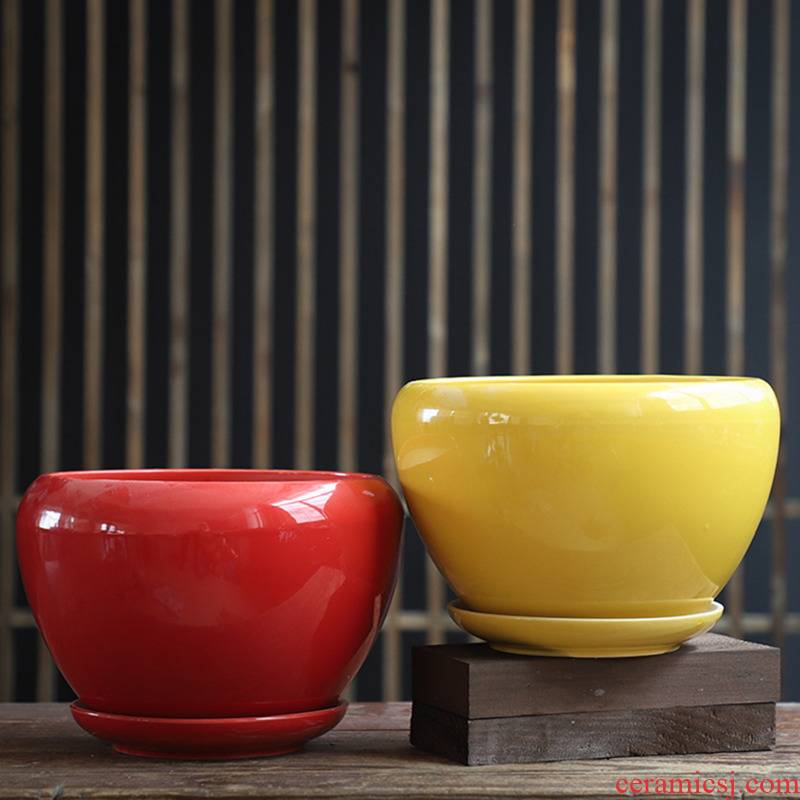 Heavy flowerpot ceramic red large special offer a clearance with tray was creative household bracketplant other small fleshy flower pot